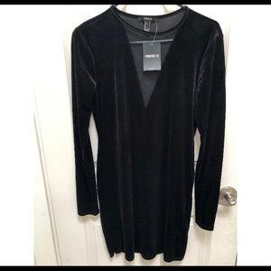 Forever 21 Black Velvet & Mesh Dress